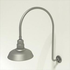 "Gooseneck Light Aluminum- 25 1/4""W x 39"" H x 3/4"" Dia. Arm with 12"" Warehouse Shade"