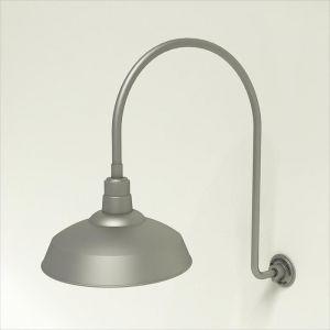 "Gooseneck Light Aluminum- 25 1/4""W x 39"" H x 3/4"" Dia. Arm with 16"" Warehouse Shade"