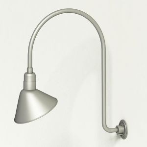 """Gooseneck Light Aluminum - 25.25"""" W x 39"""" H, Arm - with 12in. Angle Shade"""