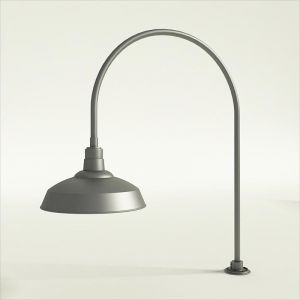"Gooseneck Light Aluminum- 27 1/2""W x 40 1/4"" H x 3/4"" Dia. Arm with 16"" Warehouse Shade"