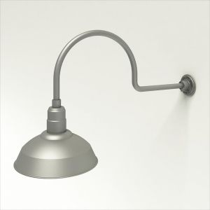 """Gooseneck Light Aluminum - 29.75"""" W x 12"""" H, Arm - with 14in. Warehouse Shade"""