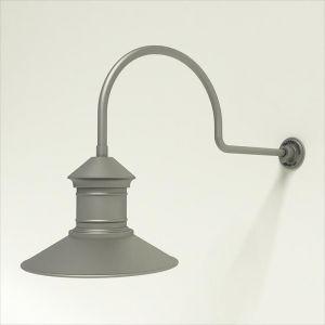 "Gooseneck Light Aluminum - 29.75"" x 3/4"" Dia. Arm with 16"" Barn Light Shade"