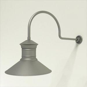 "Gooseneck Light Aluminum - 29.75"" x 3/4"" Dia. Arm with 18"" Barn Light Shade"