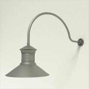 "Gooseneck Light Aluminum - 34"" x 3/4"" Dia. Arm with 18"" Barn Light Shade"