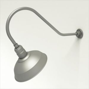 "Aluminum Gooseneck RLM Light - 35.5""L x 13.5""H, 3/4"" Dia. Arm with 14"" Warehouse Shade"