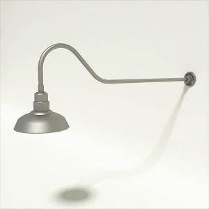 "Gooseneck Light Aluminum- 48 1/4""L x 3/4"" Dia. Arm with 12"" Warehouse Shade"