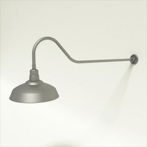 "Gooseneck Light Aluminum- 48 1/4""L x 3/4"" Dia. Arm with 16"" Warehouse Shade"