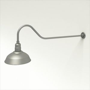"""Gooseneck Light Aluminum - 48.25"""" W x 9"""" H, Arm - with 14in. Warehouse Shade"""