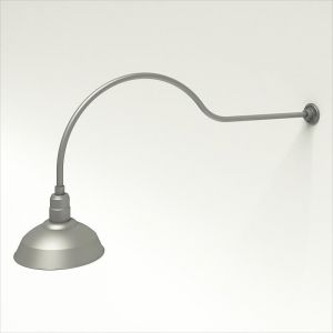 """Gooseneck Light Aluminum - 54.25"""" W x 18"""" H, Arm - with 14in. Warehouse Shade"""