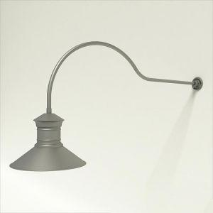 "Gooseneck Light Aluminum - 54.25"" x 3/4"" Dia. Arm with 18"" Barn Light Shade"