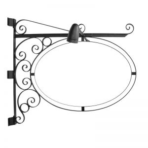 Lighted Post Mount Double Oval Sign Frame w/ Scroll - 46in. x 30in.