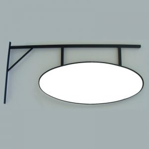 """Promontory Sign Bracket with Framed 26x11"""" Oval Sign"""